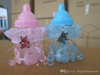 Wholesale New baby shower favors Blue pink Milk Bottle Candy Box With Bear Lace Candy Boxes candy bag For baby shower party Decorations supplies