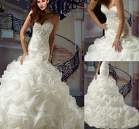 Wholesale 2014 New Super luxury Ruffles Organza Applique Beaded Mermaid Wedding Dresses Sweetheart Strapless Covered Button Wedding Dress Bridal Gowns