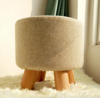 Estrutura de madeira Redonda tecido Sofá Stool Footstool Estilo de moda Tela destacável