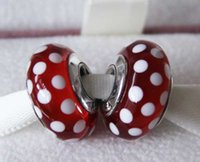 minnie - 5pcs S925 Sterling Silver Threaded Screw Minnie s Signature Look Murano Glass Beads Fit Pandora Charm Jewelry Bracelets Necklaces