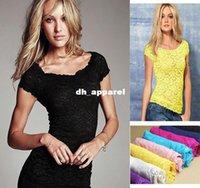 Tops T-shirt T del bicchierino del merletto Tartaruga collo manica femminile sexy del merletto di base blusas Crop feminias Maglietta 2014 di estate donne di modo