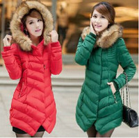 Wholesale 3 Color Girl Long Feather Zipper Padded Lady Female Slim Thin Coat Jacket Women Large Size Hooded Down Parkas