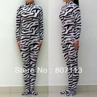 Wholesale Zebra Animal Lycra Spandex Zentai costume Bodysuit Catsuit Unitard No Hood amp Hands back zip