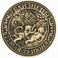 metal angel craft - Gemini Russian constellation series Memento Predict destiny props charm of magic silver coin Zodiac Sign metal Coin crafts