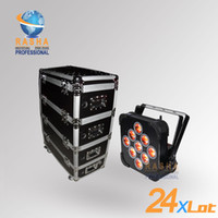 Wholesale Led Light Dropshipping - Dropshipping 24X Lot 9*15W RGBAW 5in1 Wireless Battery Power LED Par Light With Stackable Road Case