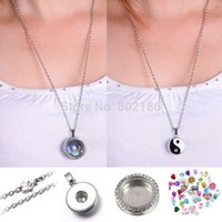name brand apparel - Floating Locket Snap Button Charm Pendant Long Chain Necklaces Jewelry Fit Brand Name Snap Apparel Accessories Sweater chain
