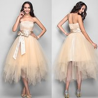 Wholesale In Stock Tiered Homecoming Dresses Under A Line Strapless Tea Length Tulle Sash Prom Dress W6153