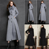 Wholesale New Brand Winter Coats For Women Black Silver Turtle Neck Fashion Jackets Long Wool Blends Womens Winter Coat