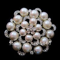 Wholesale 2 Inch Silver Rhodium Plated Large Flower Cream Faux Pearl and Rhinestone Crystal Brooch