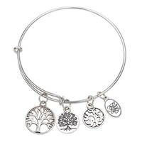 anchor flowers - Hot sale diameter mm bracelets bangles bracelets silver bangle with anchor life trees charms jewelry for women