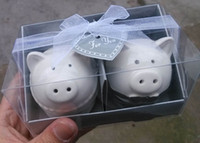 Wholesale Wedding door Gifts for Guest Pig Bride and Groom Salt Pepper Shakers for Wedding Event Souvenirs sets