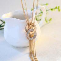achat en gros de plaqué or 18k de haute qualité-La qualité de l'AAAA long gland Collier en multicouche femmes de haute qualité collier en or 18K cristal autrichien Pull colliers de chaîne