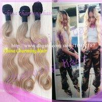 Cheap Brazilian Hair ombre hair two tone Best Body Wave virgin brazilian hair dark root blonde hair