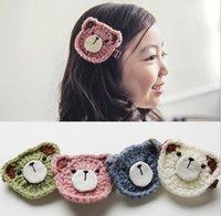 baby bear band - Korean Color Crochet Bear Children Girls Barrette Baby Girls Glitter Clasp Hair Band Kids Hair Princess Girls Hairpins K6619