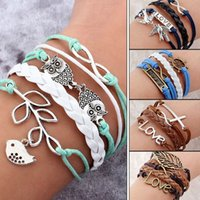 Wholesale 45 styles Vintage Bird Owls Anchors Bracelet Wrap Leather Bracelet DIY Charm bracelets for women