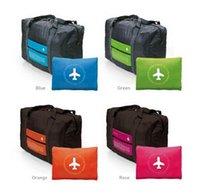 Wholesale 32L Luggage handle thru pocket large capacity folding portable shopping bag Duffel Bags Stuff Sacks Bag Organizer adjustable strap colors