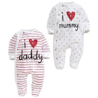baby daddy stars - Baby Rompers Cotton Long Sleeved Striped Star Print I Love Mummy And Daddy Romper Baby Spring Autumn Clothing For Baby Boy Girl