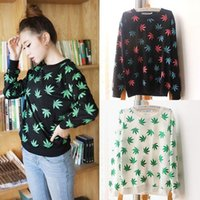 Wholesale New Women Clothing Fashion Maple Leaves Pattern Printed Long Sleeve T Shirt Blouse Jumper Tops Tee Pullover