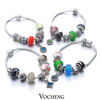 Cheap (10pcs lot) Mixed European Styles Charm Bracelet Antique Silver Charms Murano Glass Beads Jewelry (Vb-077) Vocheng Jewelry