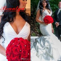 africa t shirt - Plus Size White Mermaid Wedding Dress For Arabic Africa Women Beaded Taffeta Sexy Sweetheart Vestidos De Novia Bridal Dress Gowns