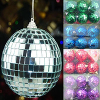 Wholesale 6 Silver mirror ball disco ball flash glass christmas ball CM Party decoration christmas Ornaments Red green blue Glass Marble
