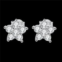 Wholesale 2016 New Design Real platinum plated stud earrings with AAA grade zircon fashion jewelry wedding gift for girls Top quality