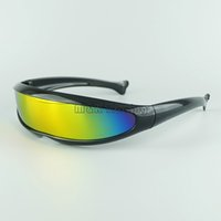 alien sunglasses - Futuristic Cyclops Neon Shield Color Mirror Lens Wrap Sunglasses Colors Alien Glasses Fashion Driving Goggles Mix Colors