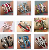 achat en gros de bracelet en cuir amour infini croix-Infinity Bracelets Mixed Lots Bijoux Fantaisie en gros Bracelet en cuir Infinity Charme Vintage Antiquités Croix Ancre d'amour
