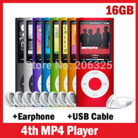 Wholesale 16GB Mp4 Music Player Slim TH quot LCD MP3 MP4 Video Radio FM Player Fashion MP3 Player GB Earphone USB Cable order lt no tracking