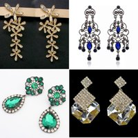 women earrings lot - Newest crstal Womens Leaf Stud ear rings Water drop Ear ring clip Trendy Jewelry Love Gift Women s earrings