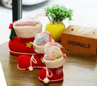 Wholesale New Christmas Tree Decoration Xmas Bag Christmas Boots Candy Box for Kids Children Party Bags chidlren Santa Boot Shoes