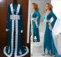 sleeve photo - Real Photos Purple Blue Mother of the Bride Dresses Arabic Kaftan Runway Evening Dresses Long Sleeves Lace Abaya Dubai Prom Gowns