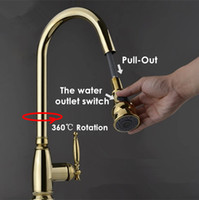 Wholesale 2015 and Retail Brass Construction Luxurious Gold Pull Out Kitchen Faucet Gooseneck Sink Mixer Tap