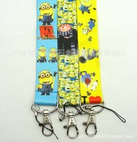 bags neck strap - Children despicable me minions Lanyard new key Lanyard key chains cell phone chains ID Neck Strap school bag rings B001