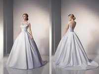 Wholesale 2015 Romantic Lace Wedding Dresses Ball Gown Backless Lace Satin Long Princess Bridal Gowns Lace up Back Bridal Dresses