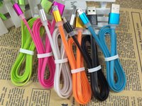ally - New design Flat noodles Dual color Cable for Micro usb sync data charge for htc nokia aluminium ally head soft cable V8 cord colorful