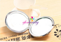 Wholesale Crystal Stainless Steel MakeUp Mirror For Travel Pocket Folding Cosmetic Compact Mirrors New