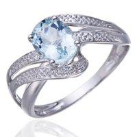 accent gemstones - 1 CT Natural Aquamarine with Diamond Accents Solid Sterling Silver Ring Jewelry Engagement