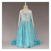 Wholesale 2015 frozen Princess summer antumn party dress Birthday party pretty long sleeve elsa lace snow dresses