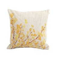 Wholesale Home Decor Cotton Linen Pillowcase Yellow Flower Tree Printed Throw Pillow Cover
