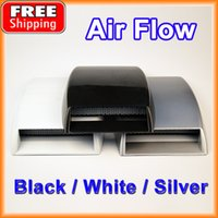 auto hood scoops - Car Air Flow Sticker Auto Styling Universal Decorative Intake Scoop Turbo Vent Cover Hood White Black Silver order lt no track
