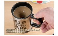 Wholesale 4 Colors Automatic Plain Mixing coffee Tea cup Lazy Self strring mug button Pressing Worldwide