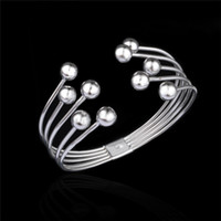 Cheap Popular design 925 sterling silver plated bead wire bangles fashion party jewelry free shipping for women Top Quality