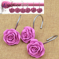 Wholesale 12pcs New Decorative Rose Flower Resin Floral Rolling Shower Curtain Hooks Rings