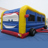 Wholesale AOQI kids inflatable toy trampoline jumping bouncer mini playground bus inflatable bounce house for children with EN14960 certificate