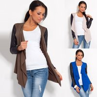 Wholesale M L XL Synthetic Leather Sleeves Cardigan Jacket Style Hot Casual Slim Lady Elegance Coat