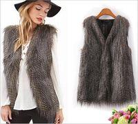 argyle vests - 2015 Womens Faux Fur Waistcoat Jacket Coat Sleeveless Outwear Short Vest Gray Brown