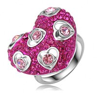 austrian red wines - Wine Red Color Crystal Heart Ring Platinum Plated Genuine SWA Elements Austrian Crystals Ladies Rings Gift For Love Ri HQ0297