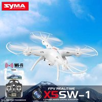 Wholesale Bonus SYMA X5SW X5SW WIFI RC Drone fpv Quadcopter with Camera Real Time RC Helicopter free batteries multiple charger A5