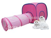 Wholesale HOT NEW Castle Tunnel Folding portable pet cat castle tent house cage DIY combinations gifts